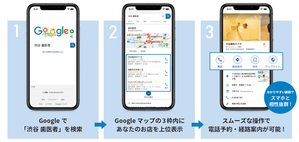 Googleマップで上位表示、スムーズな操作で電話予約・経路案内が可能